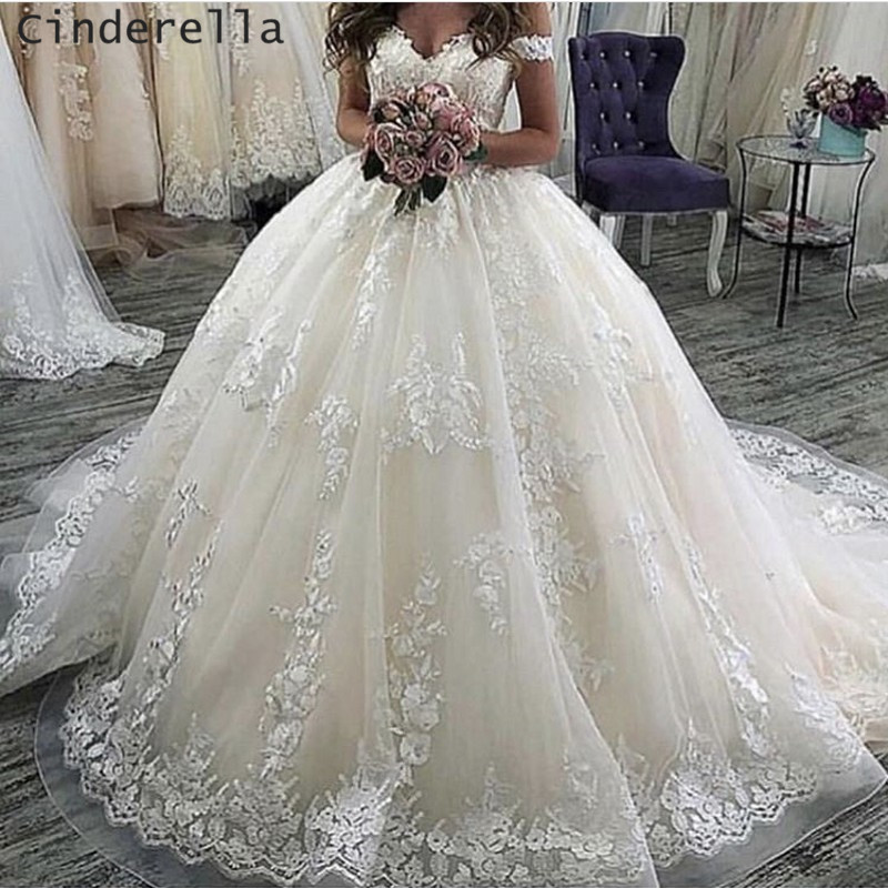 Cinderella Sweetheart Off The Shoulder Ball Gown Soft Tulle Lace Applique Wedding Dresses Luxury Lace Brdal Dresses 2019 Newest
