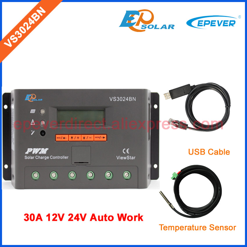 30A PWM 12V 24V Solar lcd controller 30amp EPEVER EPsolar charger regulator VS3024BN USB cable and temperature sensor epsolar lcd display 30a 30amp pwm vs3048au solar controller regulator with temperature sensor