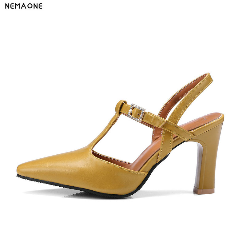 NEMAONE New high heels sandals woman poined toe ladies dress shoes T-strap summer women shoes black beige yellow green nemaone new flat women slippers suede leather sandals woman summer style pearl beath women shoes black apricot pink green