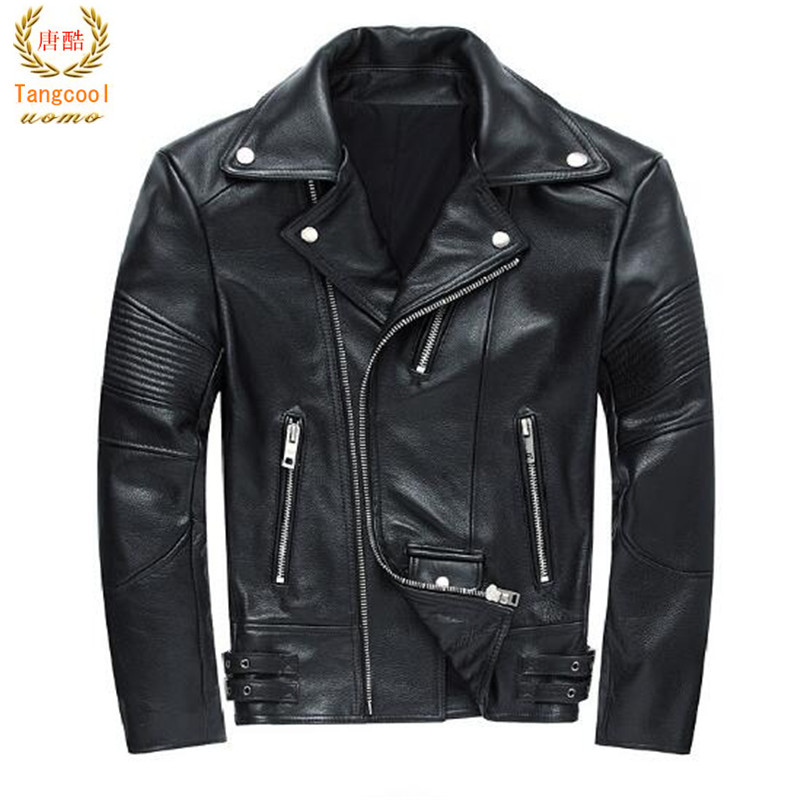 2018 Spring and autumn male high quality zipper leather coat cowboy leather embroidered maple leaf jacket