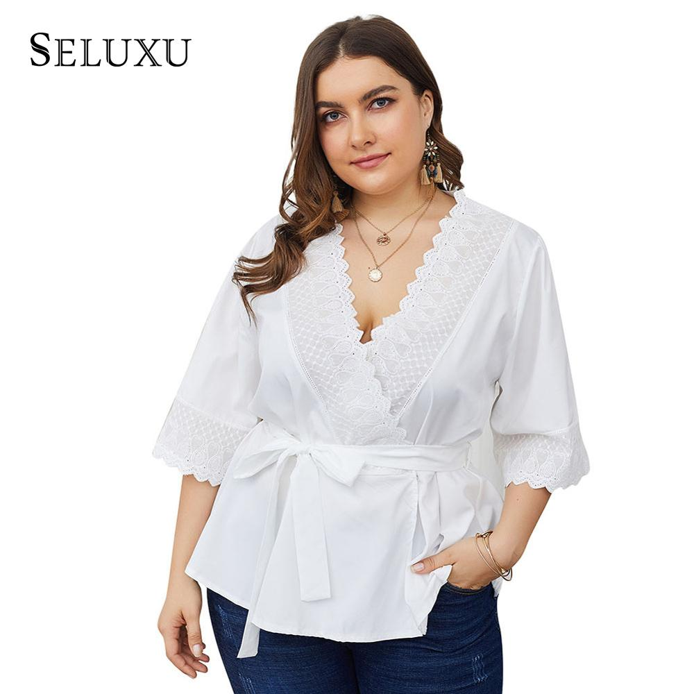 Seluxu 2019 Women Shirt Plus Size V-Neck Solid Color Sashes Bow Half Sleeve Sexy Large