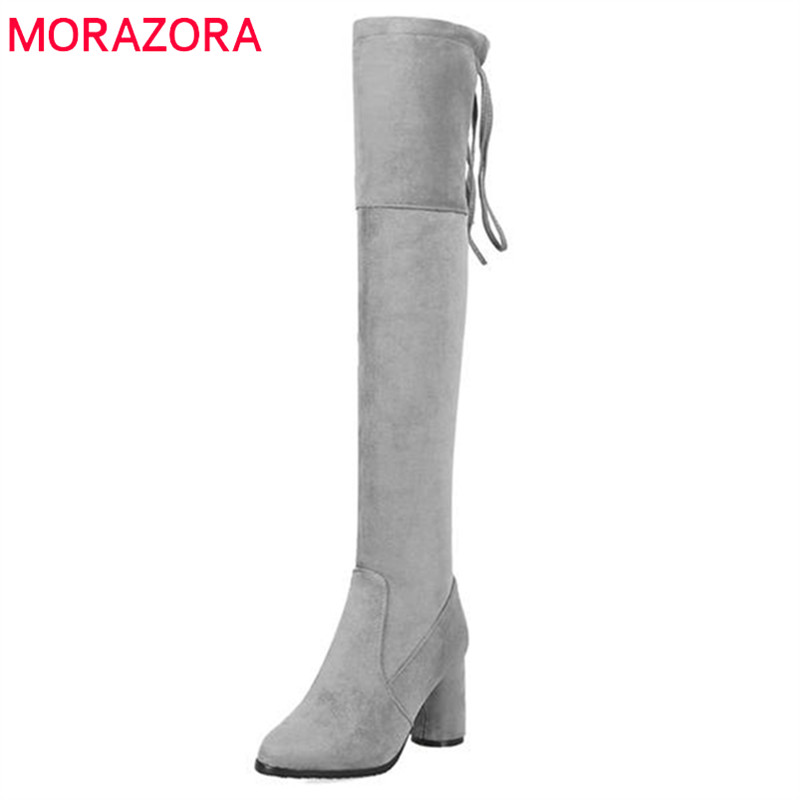 MORAZORA 2018 new arrival over the knee boots women flock round toe winter boots lace up elegant long boots fashion dress shoesMORAZORA 2018 new arrival over the knee boots women flock round toe winter boots lace up elegant long boots fashion dress shoes