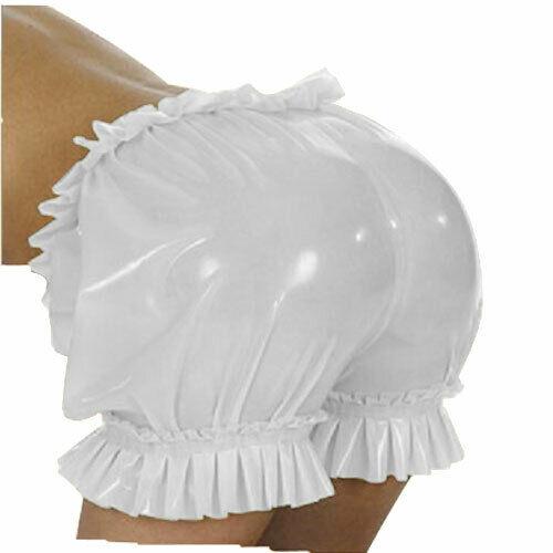 MONNIK latexSexy LingerieNew sous-vêtements en caoutchouc Latex hommes Boxer dentelle blanc Sexy Shorts