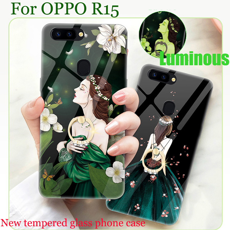 For OPPO R15 case cover Luminous tempered glass back cover For OPPO R 15 case OPPOR15 phone cases For OPPO R 1 5 shell bags