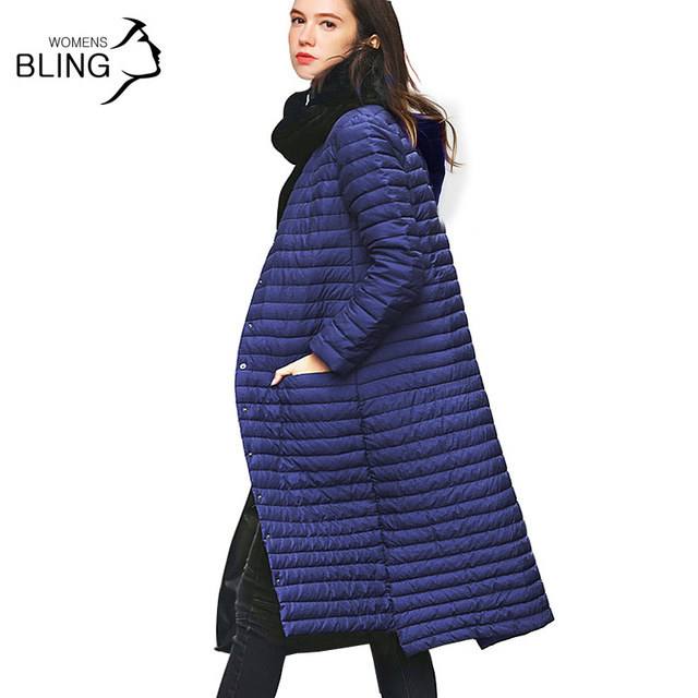 New 90 % White Duck Down Coat Slim Thin Long Paragraph Knee Extension 2016 Snow Winter Women's Hooded Single-breasted Jackets