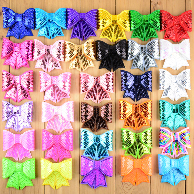 Wholesale 120pcs lot 3 Sequin Bow Knot Applique Embroideried Sequin Bows Girls Boutique Free Shipping HDJ13