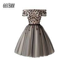 Fashion Black Short Prom Dresses 2019 Prom Dress Women Bohemian Boat-Neck Tulle Beading Lace Up Boho Lady Graduation Party Gowns