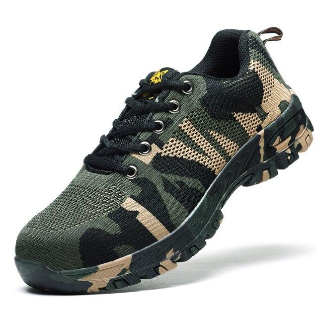 Men An Toàn Lao Động Boots Kích Thước 45 46 Ngụy Trang Thoáng Khí Lưới Thép Ngón Chân Giày Thường Mens Bảo Hiểm Lao Động Đâm Bằng Chứng Giày
