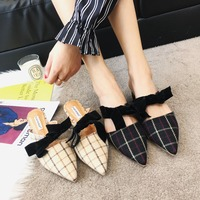 Moxxy Brand 2018 Spring Genuine Leather Bowknot Pointed Toe Flat Woman Slippers Slip On Butterfly Loafers