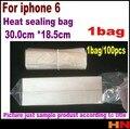 1 bolsas = 30 cm * 18.5 cm para el iphone 6 caja soft blow molding pvc transparente termorretráctiles bolsas abrigo de la película cosmética embalaje