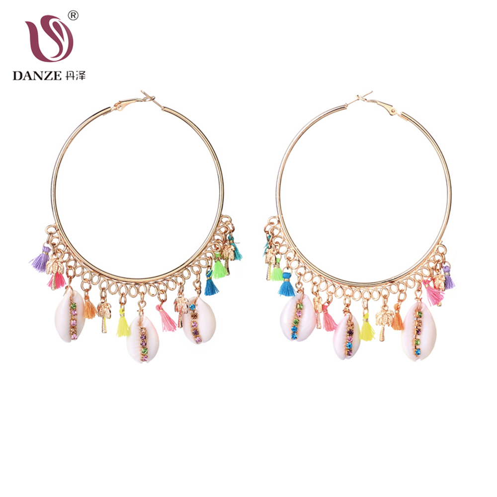 DANZE New Fashion Gold Sea Shell Made Earrings For Women Small Big Hoops Shell Cowrie Statement Crystals Girls Earrings