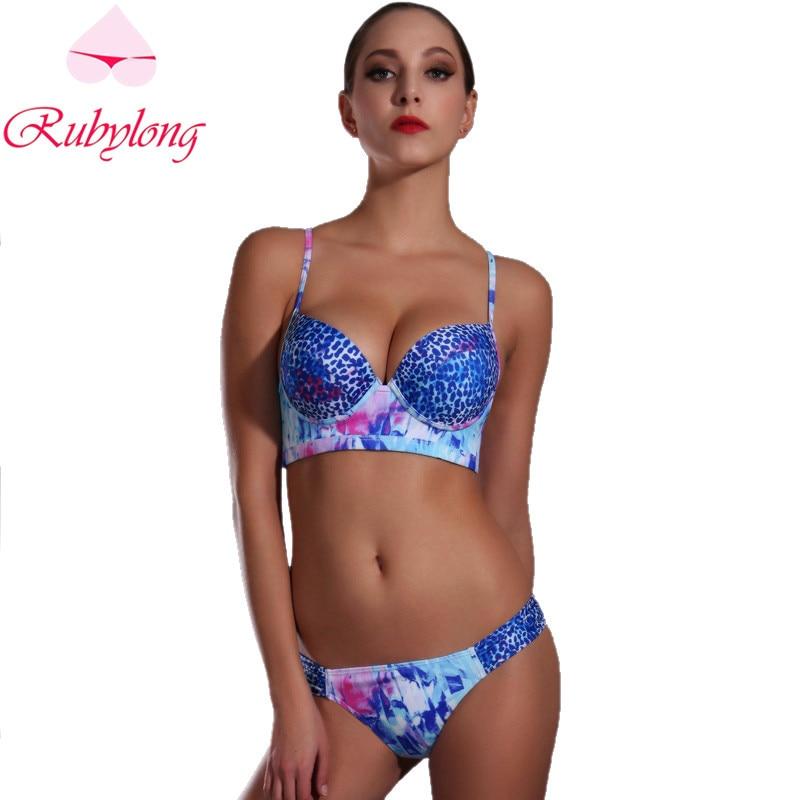 Rubylong 2016 Bikini Swimwear Women Sexy Print Halter Underwire Push Up Blue Swimsuit Bathing Suit Bikini Set Biquini Beachwear 2016 solid blue orange women halter push