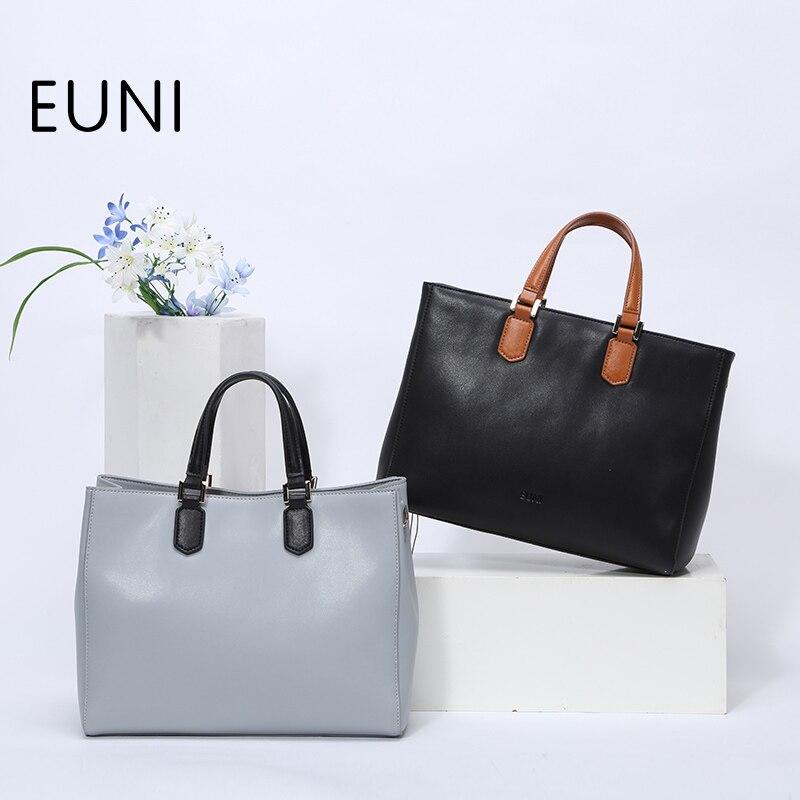 ФОТО EUNI Fashion Famous Brand Style Women Leather Handbags Luxury Handbags Women Bags Designer Women Large Capacity Shoulder Bag N49