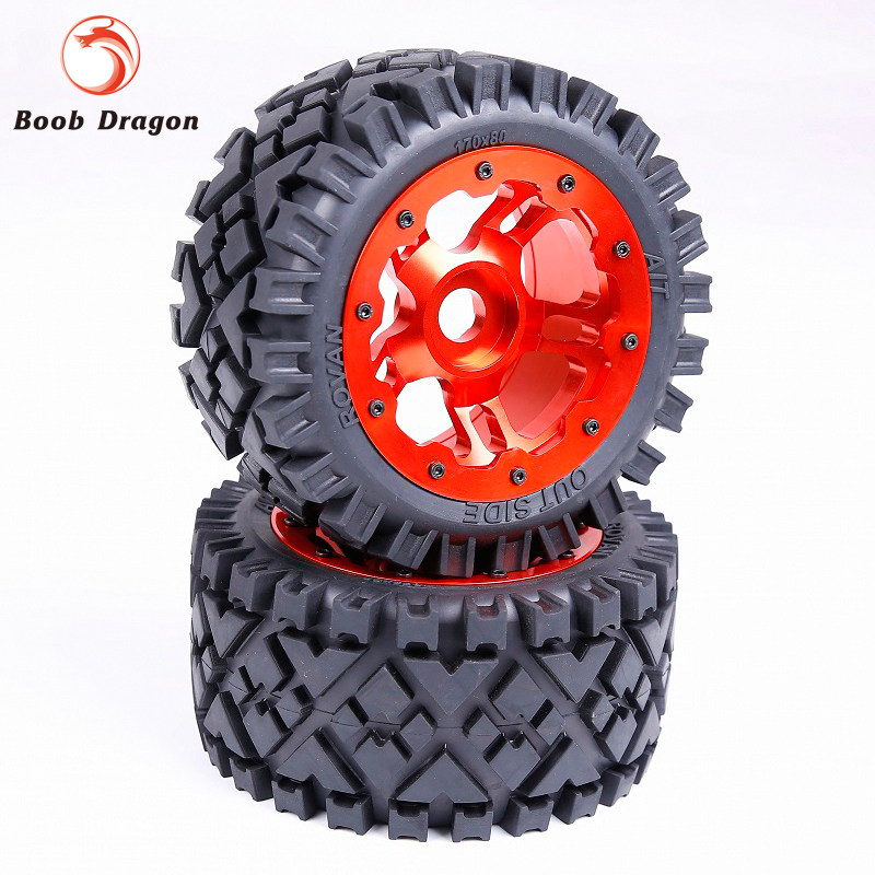 все цены на Baja Rear Full Terrain tTyres set with CNC Alloy Rear Wheels hub for 1/5 HPI Baja 5B SS Rovan King Motor онлайн