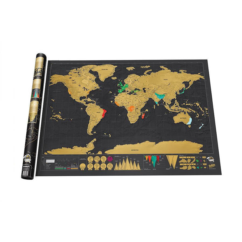 BLINGIRD Home Decor Scratch Black World Map Wallpaper Wall