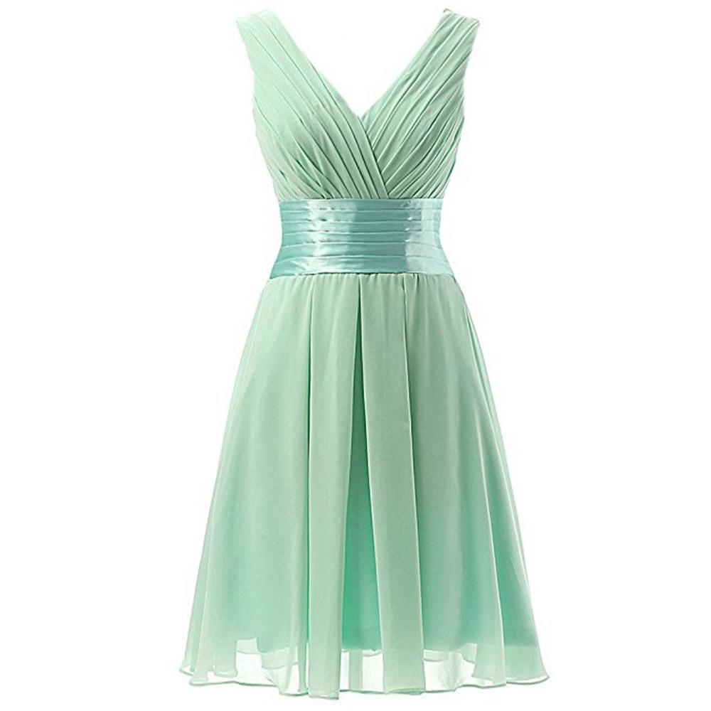 Wedding Guest Formal   Dress   Cheap Mini V Neck   Bridesmaid     Dresses   Light Green Women Sexy Prom Gowns Robe Demoiselle D'honneur