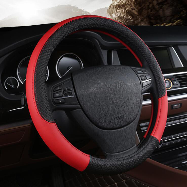 38CM Auto Car Steering Wheel Cover Leather Anti-Slip Design DIY Braid On the Steering-wheel Cover Car-styling Car accessories free shipping car styling sew on genuine leather car steering wheel cover car accessories for 2015 2016 new ford mustang