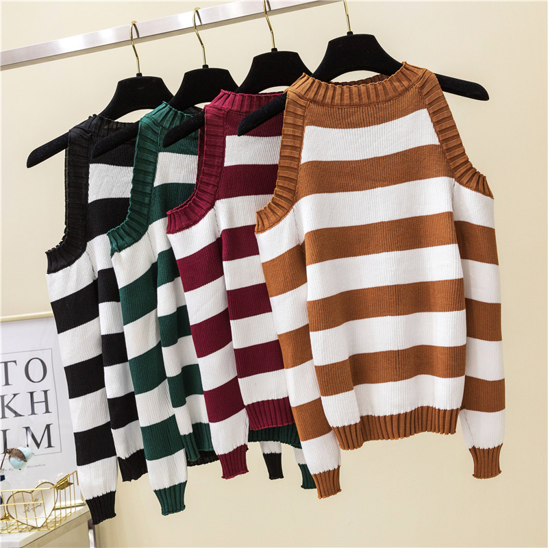 Striped Pullovers Sweaters Women Knitted Off Shoulder Slim Pullover Sweater For Female