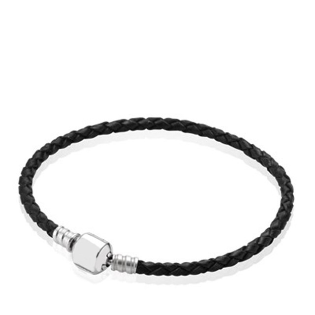 18eb37f18 Book Di 100% 925 Sterling silver Black Braided Leather Charm Bracelet fit  DIY Original charm