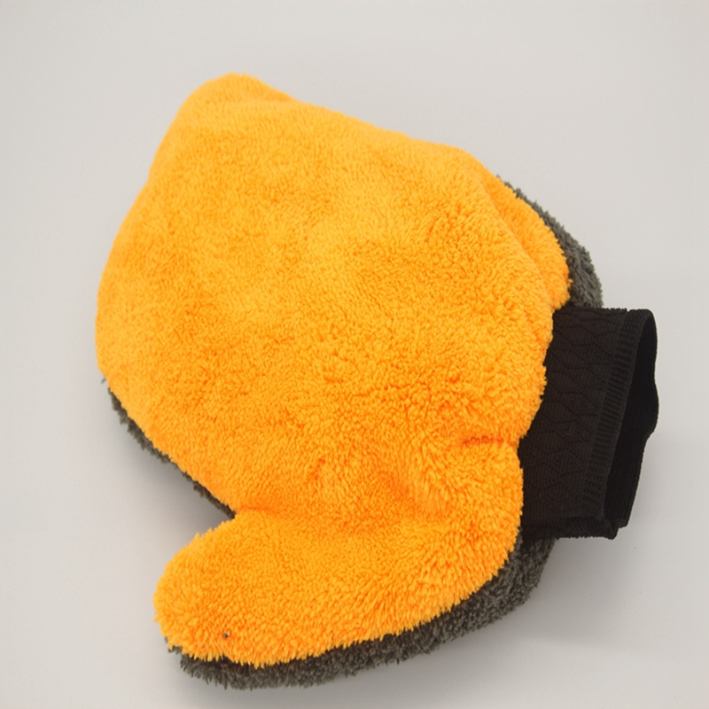 1 new super fiber two-color car wash gloves tools, care supplies, water-absorbing soft plush accessories, dust