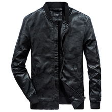 цена на 2019 Spring Autumn PU Leather Jacket Men Slim Fit Coat Stand Collar Long Sleeve Jackets Solid Color Casual Leather Coat WN30