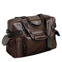 d99b683f35c Fashion Handbag Crazy Horse PU Leather Men Briefcase Brand Luxury Men s  Messenger Bag for Male Business