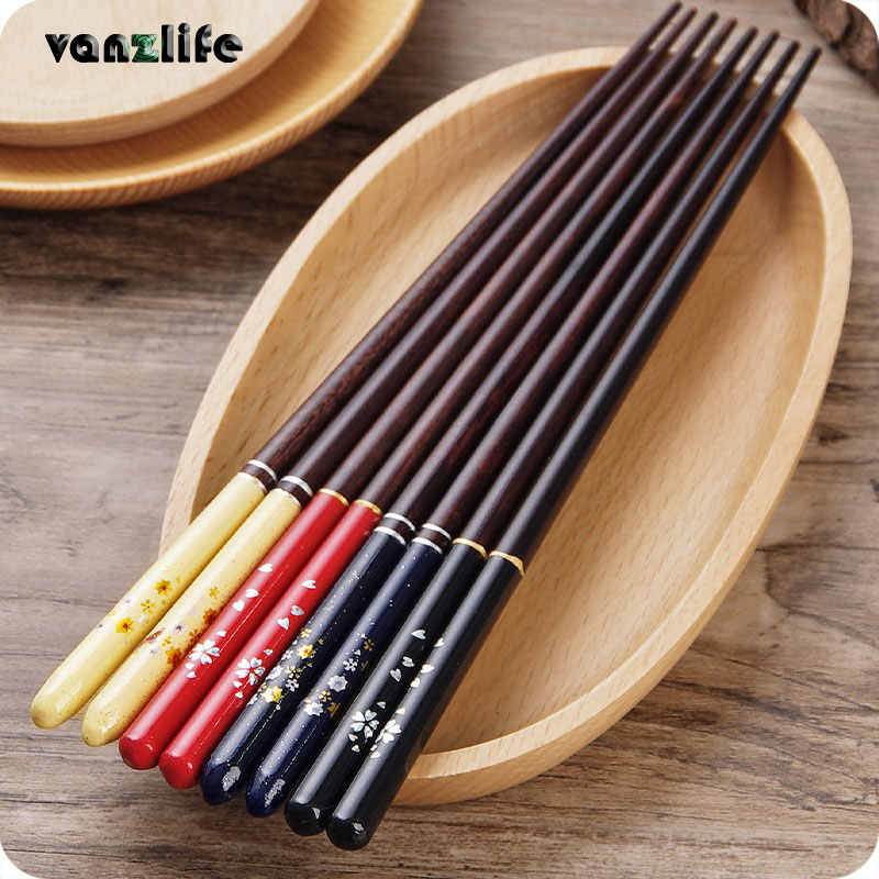 vanzlife Japanese Cherry wooden chopsticks pointed domestic tableware long creative no slip chopsticks