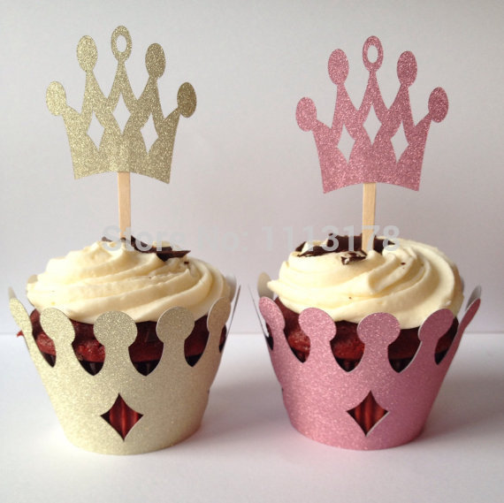glitter princess crown cupcake wrappers holders wedding valentines day bridal shower cake wrapper with toppers set