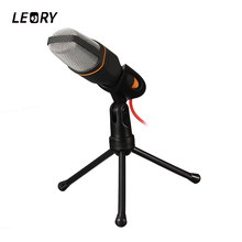 LEORY Professional Stereo Desktop Microphone 3.5mm With Stand Clip Condenser Microphones Mic For PC Laptop Mic Chatting Karaoke