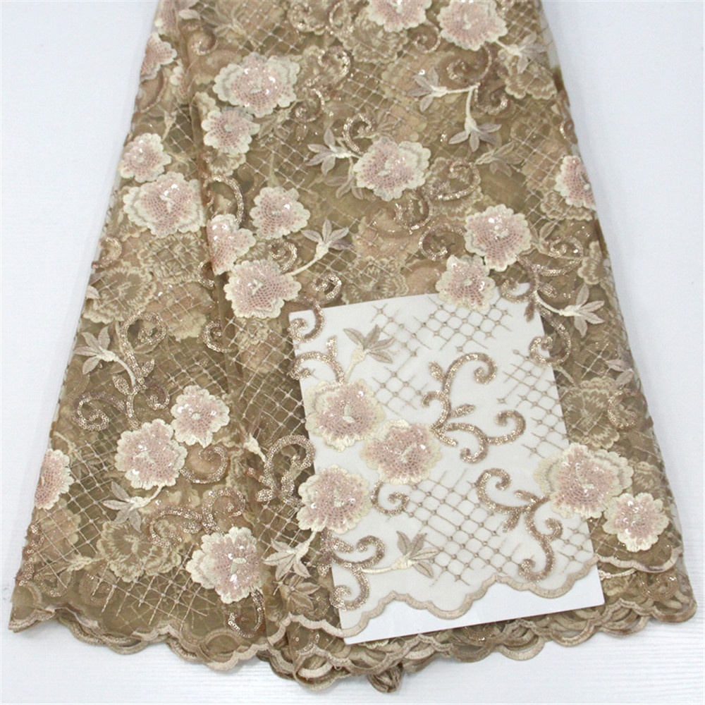 African Style Embroidered Gold Nigerian Sequin Lace French Tulle Fabric For Party X492-1African Style Embroidered Gold Nigerian Sequin Lace French Tulle Fabric For Party X492-1