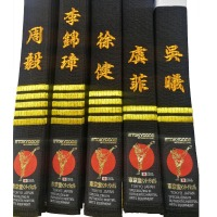 High Quality Professional Kyokushin Kai Karate Japanese Black Belts Kanji Kyokushin Kai Kan Embroidery Japan Belts Karate Belt