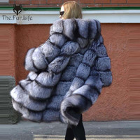 New Brand Winter Real Natural Fox Fur Coat Thick Silver Fox Women's Jacket With Big Fox Fur Hood Outerwear Warm Female