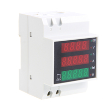 Din Rail LED AC 80-300V 0-100.0A Multi-function Voltmeter Ammeter Display New 1pc d52 2048 ac 80 300v lcd digitial multi functional meter voltmeter ammeter stock offer multi functional meter
