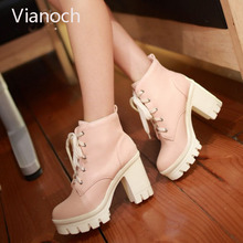 2018 New Fashion Womens Ankle Boots Spring Autumn Platform Pumps High Heels Lace Up Size 40 41 42 43 aa0924