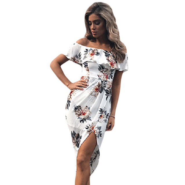 5467f28fe2d Summer Dress 2018 Sexy Off Shoulder Women Dress Elegant Floral Print Party  Summer Slash Neck Women Dress Elegant Boho Dresses