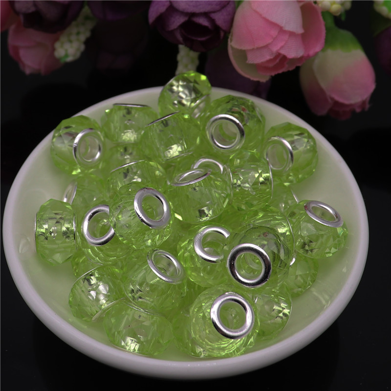10Pcs 14 8mm Assorted Color Silver Core Big Hole Crystal Spacer Glass Beads Charms fit for Pandora Bracelet for Jewelry Making in Beads from Jewelry Accessories
