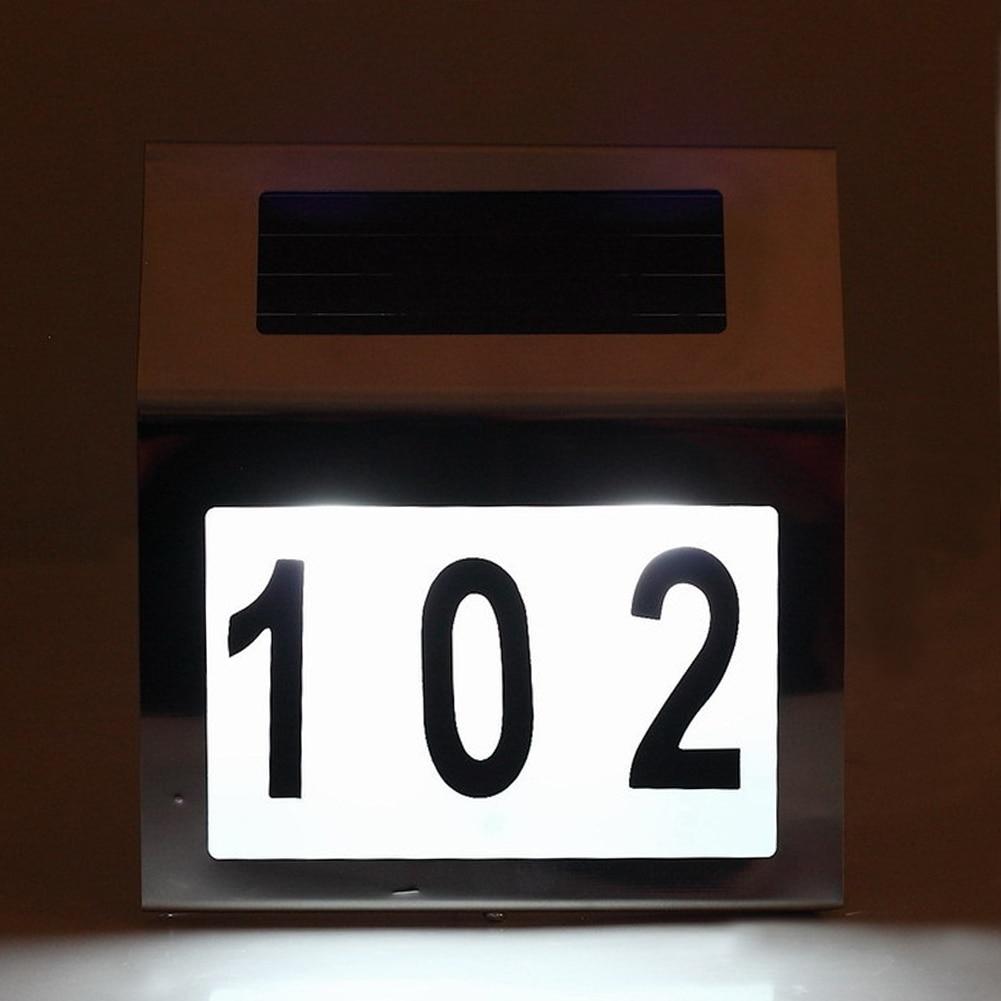 LED Solar Door Lamp Waterproof IP44 Home Road Signs Number Digital Door Wall Light Outdoor Wall Lamp Lighting solar powered 2 led wall mount lamp home house road signs number led light waterproof ip44 digital led number solar door light