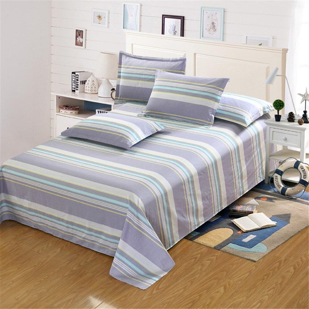 Modern simple fashion stripe Bedding white yellow gray blue flat sheet pillow case twin full queen King Size home ornament boys