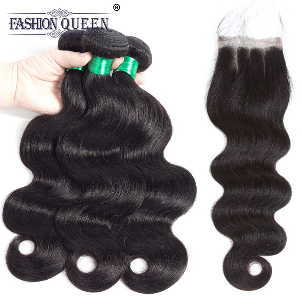 Fashion Queen Pre-Colored Body Wave Human Hair Bundles With Closure Brazilian Hair Weave 3 Bundles With Closure Non Remy Hair
