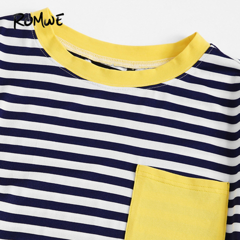 ROMWE Multicolor Contrast Pocket Striped Ringer Women Tees 2019 Summer Preppy Style T Shirts Casual Short Sleeve O-Neck Tops Karachi