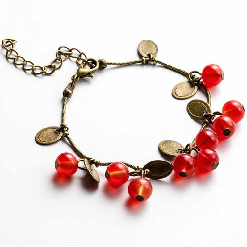 Vintage Sweet Cute Red Cherry Charm Bracelets for Women Small Coin Bead Beautiful Bracelet Girl Gift Mujer Pulseras Hot Sale
