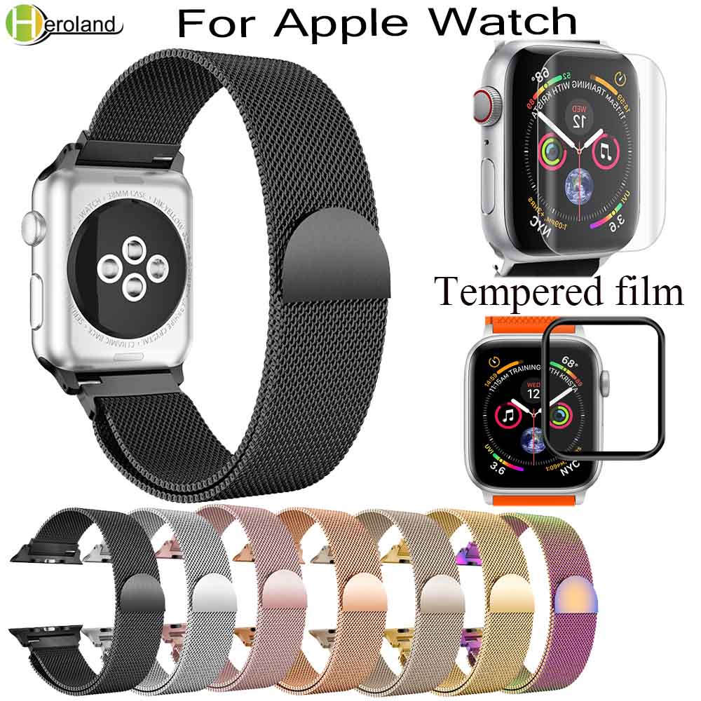 New Milanese Loop BandS For Apple Watch Series 1/2/3 42mm 38mm 40mm 44mm Stainless Steel Bracelet Watch Strap For I Watch 4 Film