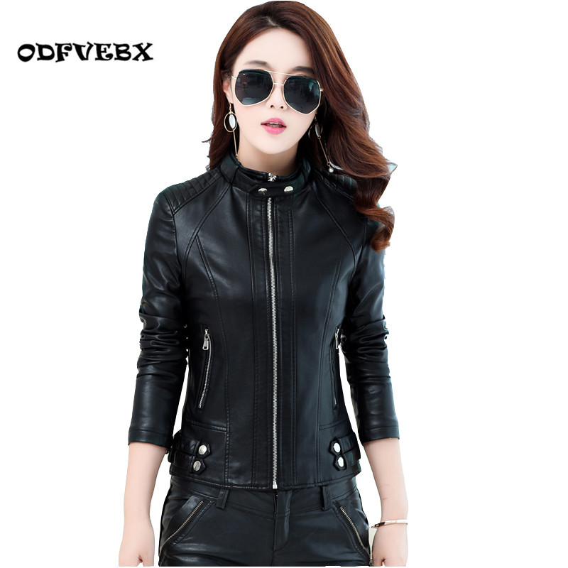 Spring autumn   leather   jacket female short motorcycle   leather   jacket fashion Slim collar winter new thin coat tide ODFVEBX HY543