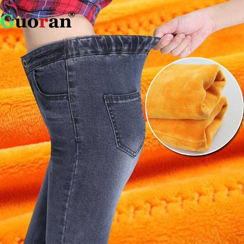 guoran elastic waist women jeans leggings winter warm f