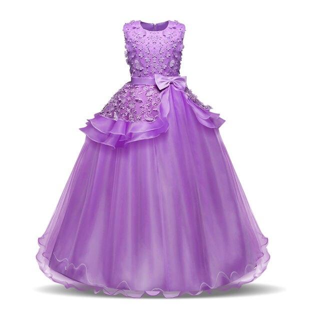 Online Shop Flower Girl Long Dress Christmas Party Wear Kids Clothes ...