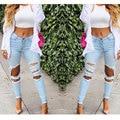 Women Big Hole Ripped Jeans Denim Jeans Pants Mid Waist Skinny Trousers Vintage Brand Spring 2015 Summer Capris Pencil Pants