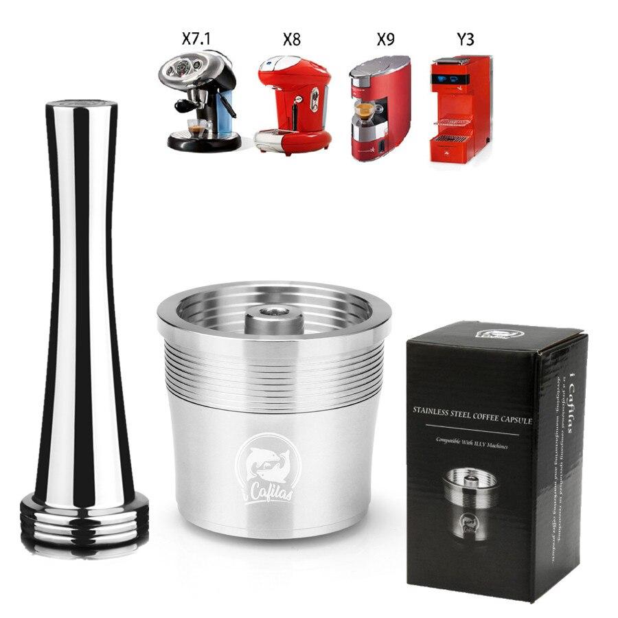 Icalifas illy 커피 머신 용 재충전 용 커피 필터 카페 캡슐 컵 도저 금속 스테인레스 스틸 재사용 가능한 커피 바구니