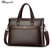 Genuine Leather Briefcase Bags Casual Men Business OL Laptop Cowhide Solid Crossbody Bag Handbags Men Computer Man Bag RAYCELL