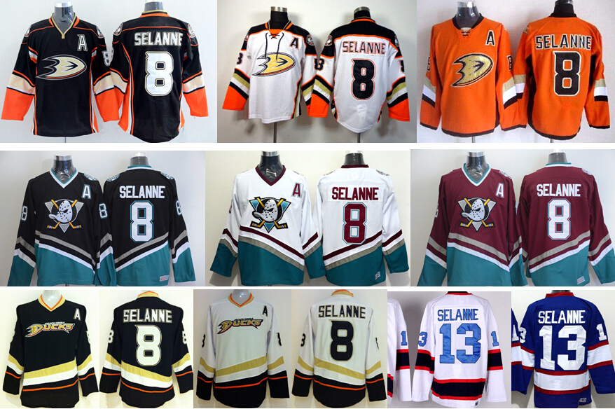 e3e68260b ... throwback stitched nhl jersey b37e3 23cfd; buy black jerey top quality  production shop anaheim ducks 8 teemu selanne jersey ice hockey stitched