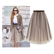 Starlist Woman Fashion Organza Ball Gown Skirt OL Elegant Long Bubble Skirt Party Wedding Brown Skirts